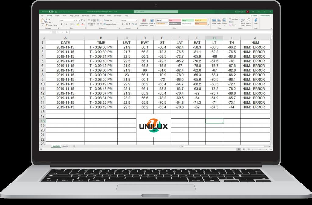 Unilux VHP Heat Pump Data Logger